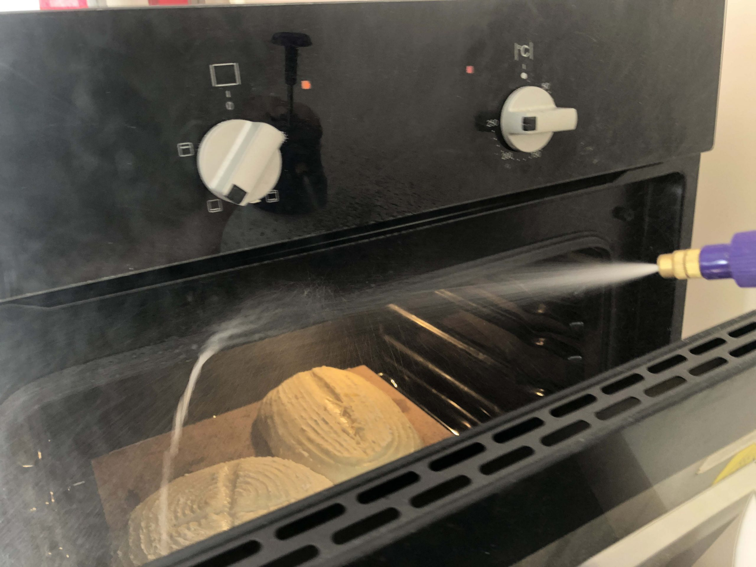 creating steam in the oven for oven spring