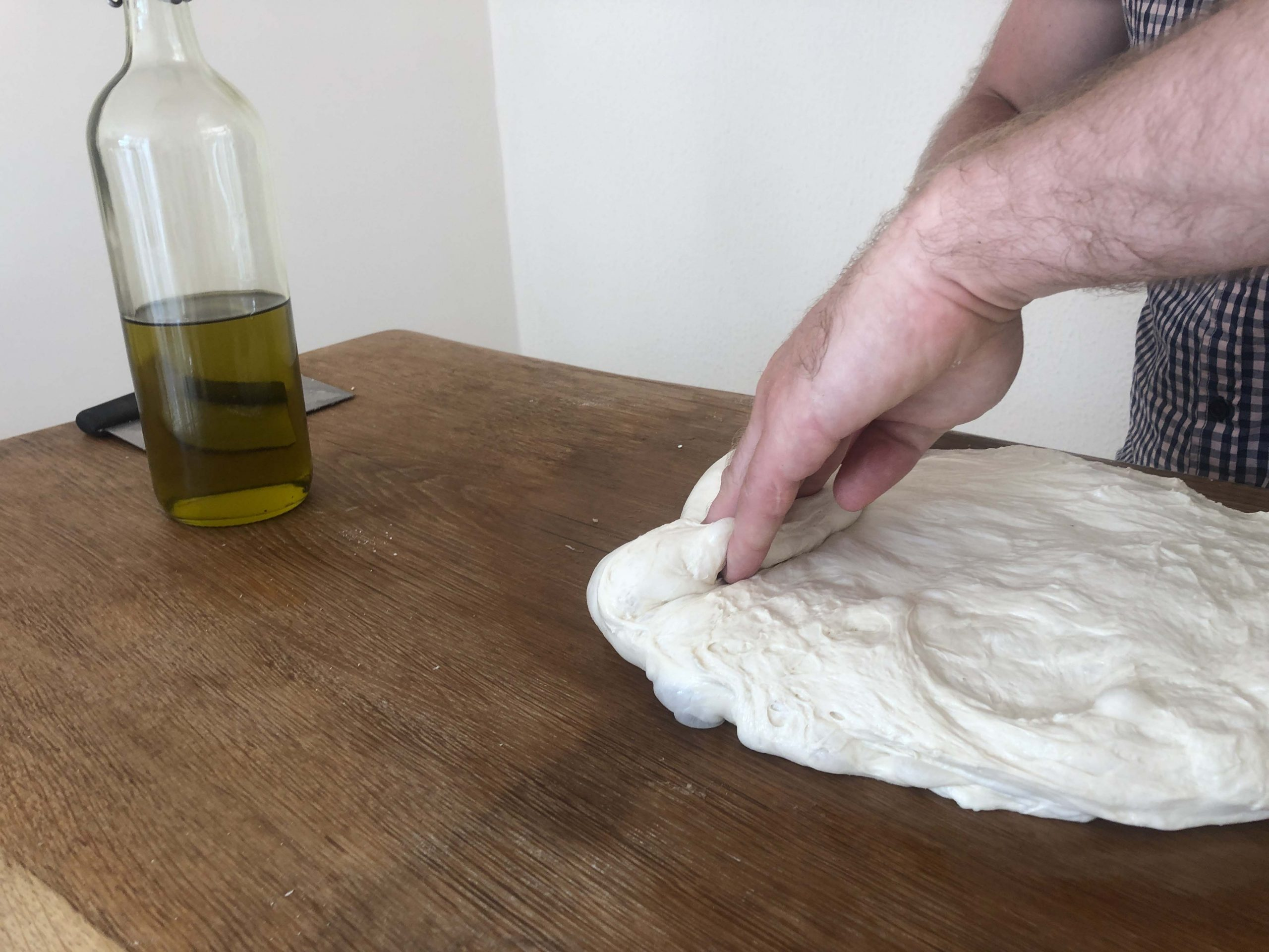 fold the dough over at a third