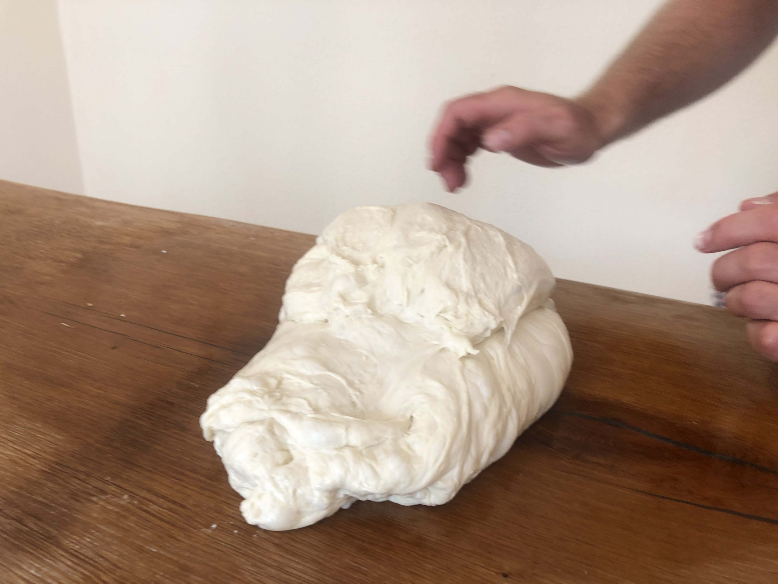 fold the dough to the centre
