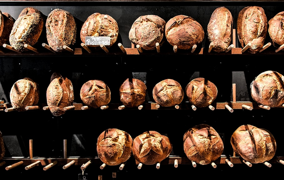 Sourdough bread selection for sale in an artisan bakery
