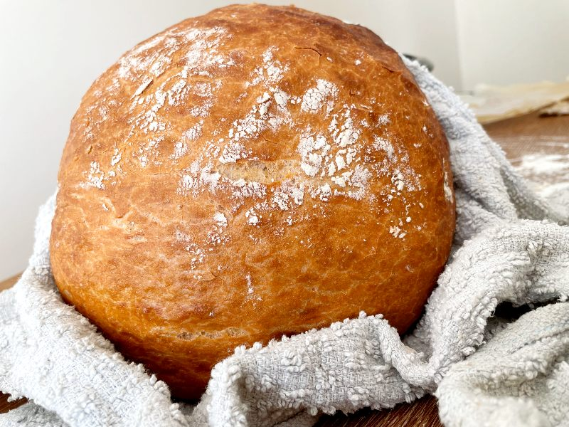 The bread is baked and cool